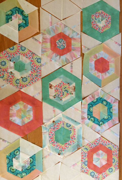Assembling hexies--opted for an inset detail with the setting triangles for a playful touch.