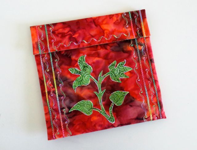 """Machine appliqued, couched, and embroidered pouch, 8 1/2"""" x 8 1/2"""", designed and made by Chris Porter"""