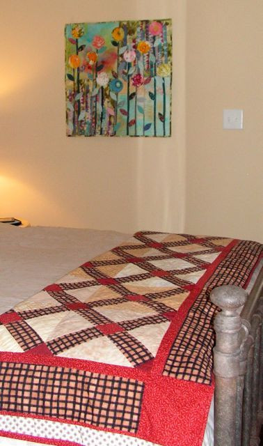 """Two quilts by Linda Smith, one """"vintage"""" and one recent"""