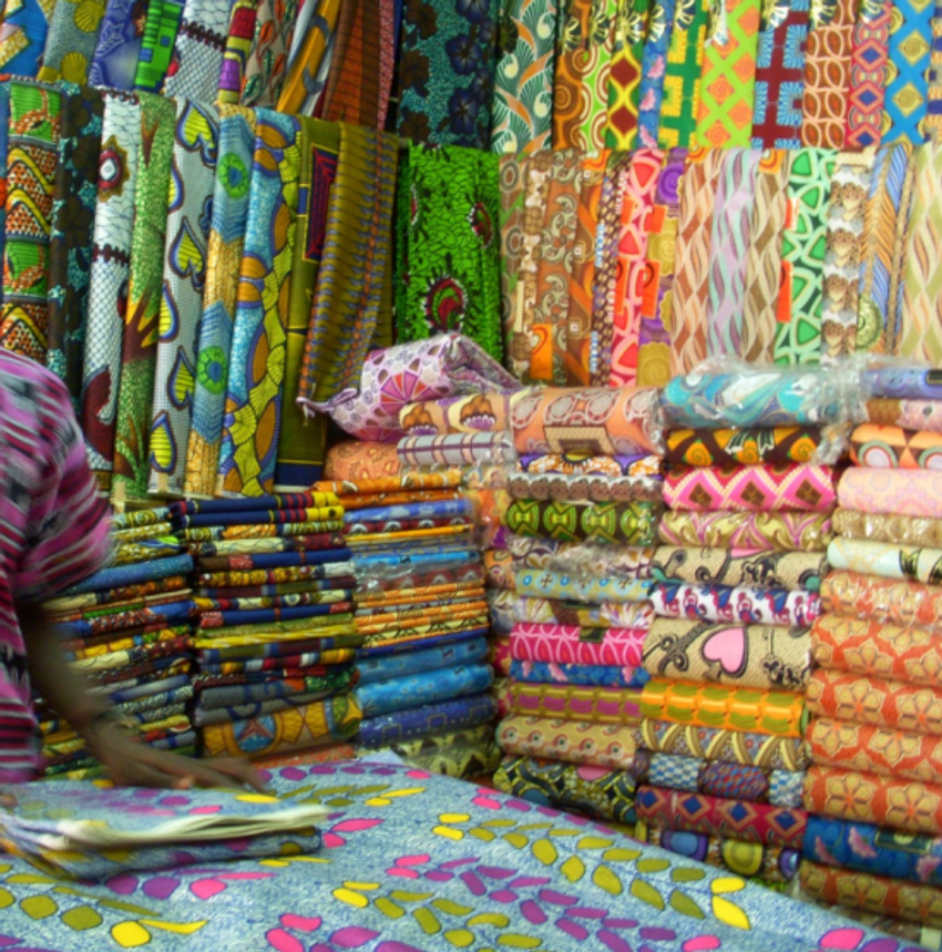 A wondrous array of colors and prints on display for sale in Libreville, Gabon.