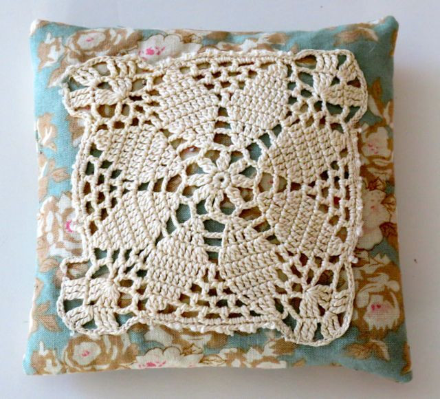 """My crochet piece measured about 3 1/2"""" square, so I cut my fabric pieces 5"""" square--enough for seam allowance and a nice little frame."""