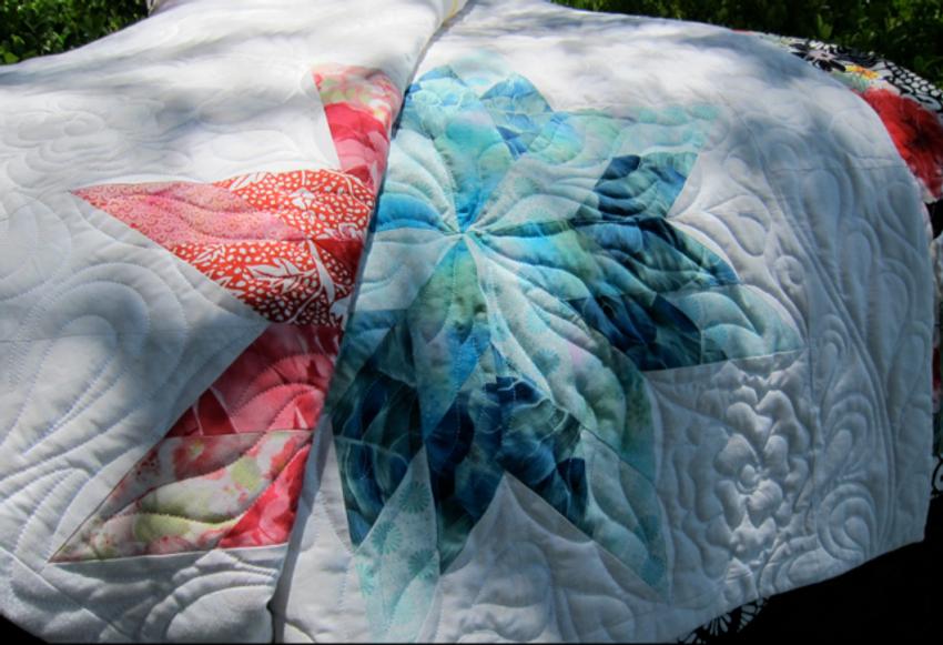 Quilt-J:  Detail of Quilting--Wedding Quilt