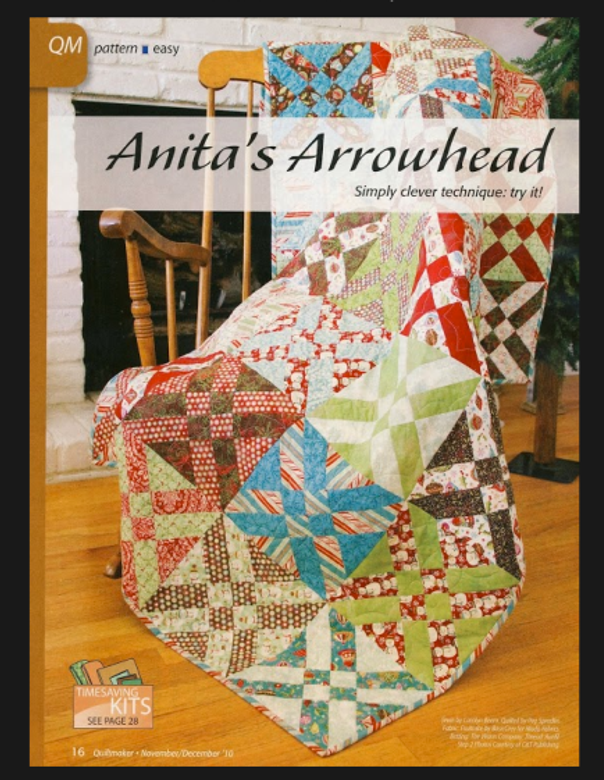 The eye-catching Arrowhead Block featured in Quiltmaker magazine.