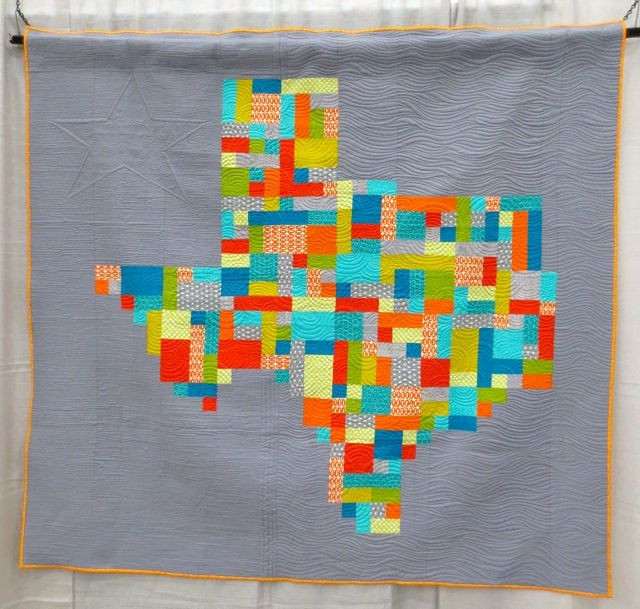 Texas, made by Dana Michaelson, quilted by Angela Walters; seen @ QuiltCon 2013.