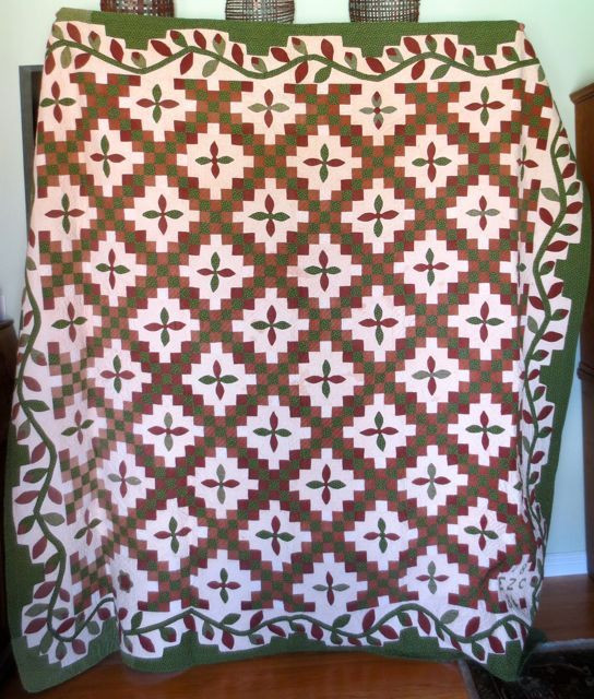 """Irish Chain with Applique, 86"""" x 84"""", made by EZC, 1884"""