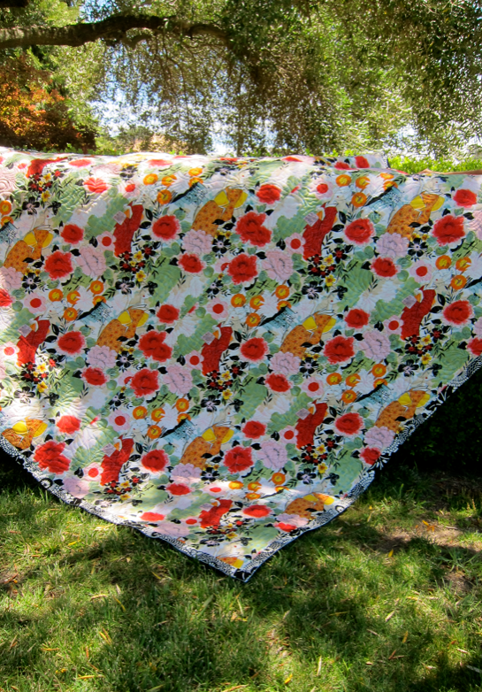 Quilt-J:  Reverse side of wedding quilt with Harajuku ladies