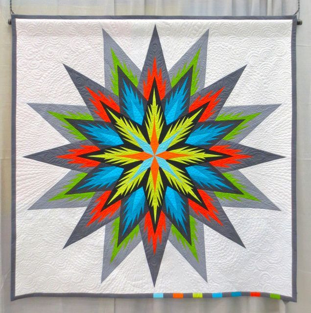 STELLA, made by Susan Strong, machine quilted by Ardelle Kerr, design source: Feathered Star pattern by Judy Niemeyer (QuiltCon 2013, category: Modern Traditionalism, Large)