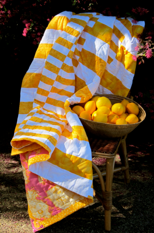 An al fresco styled shot of the marigold yellow variation. Those Meyer lemons come from Darra's incredibly abundant tree.