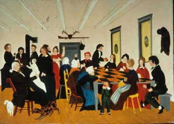 The Quilting Party painted y an unknown artist circa 1840-1850.