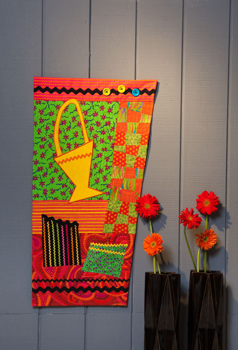 """Basket Goes Bonkers (21"""" x 39""""), designed and made by Eleanor Levie"""