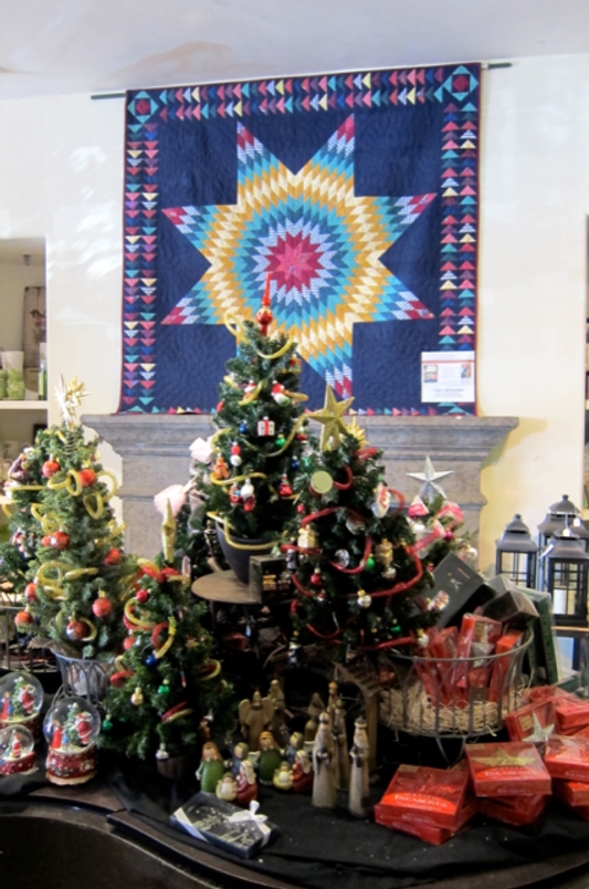 A favorite star quilt project from an earlier edition of Q!Q!!Q!!! showcased in the holiday shop at Alden Lane Nursery.