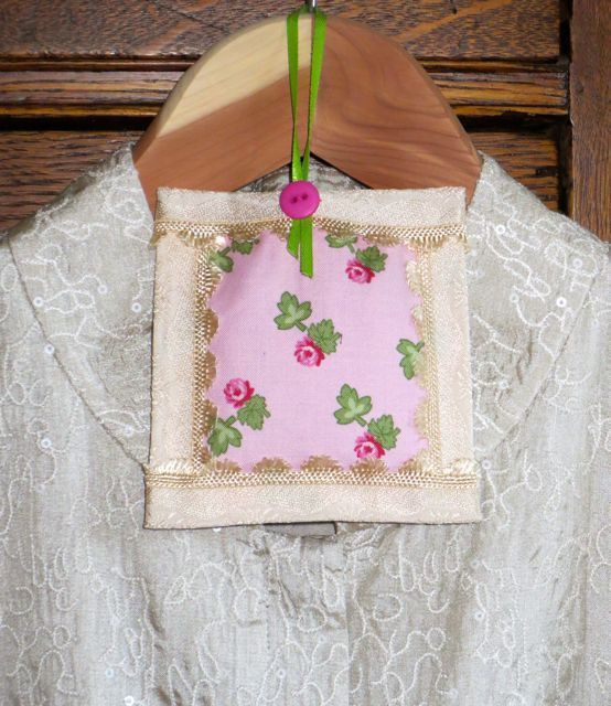 """This sachet finished about 4"""" square; the ribbon loop makes it hanger ready."""
