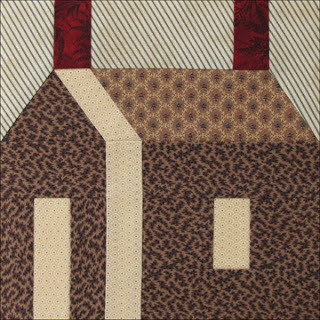 Little Red Schoolhouse block, made by Becky Brown, appears in Barbara Brackman's Quilt Block of the Week series, 11/20/12