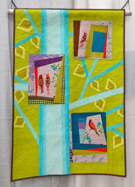 4 Birds, made and machine quilted by Trisch Price (QuiltCon 2013, category: Improvisation, Small)