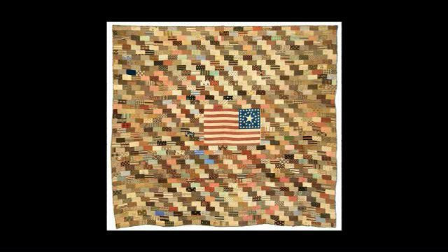 """Central Medallion Flag; 92"""" x 81""""; c. 1885; maker unknown; New England Quilt Museum; photo by Joe Ofria; appears in the series Why Quilts Matter: History, Art & Politics"""
