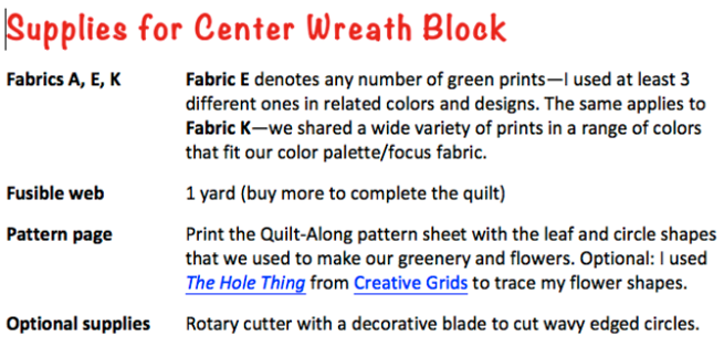 Quilt-Along Wreath-J:  Supplies