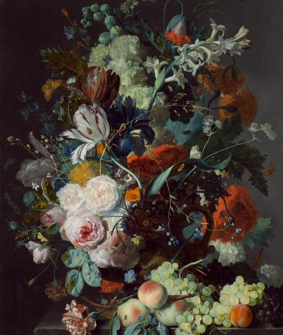 Inspiration-J: Partial view of Jan Van Huysum still life from National Gallery
