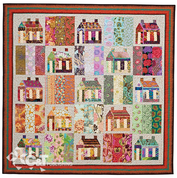 """Happy Houses, 70 1/2"""" x 70 1/2"""", pieced by Bobbi Finley, machine quilted by Holly Casey"""