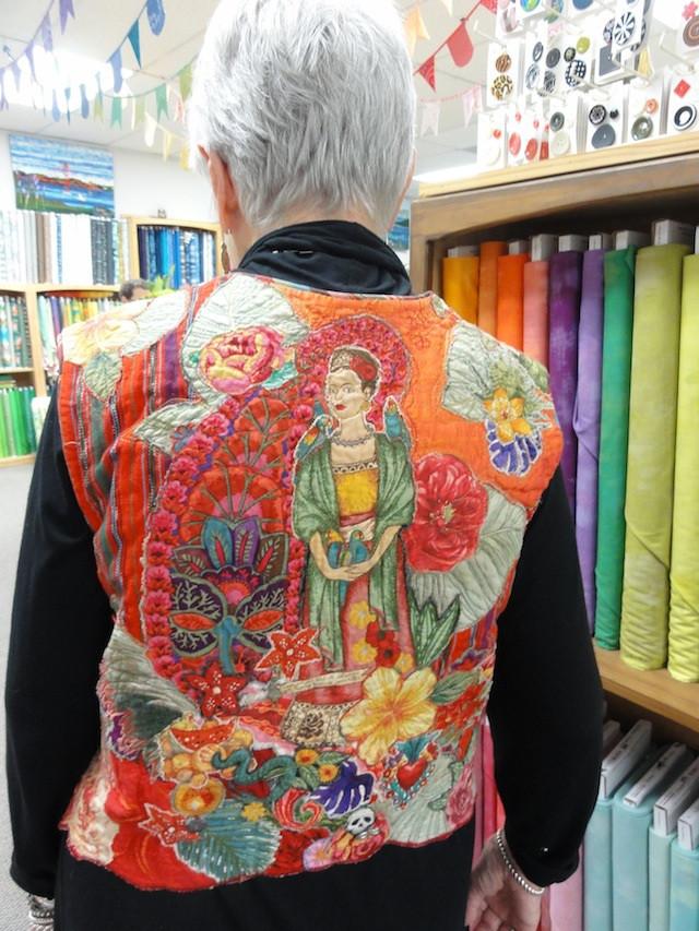 Frida Kahlo Vest #1 designed and made by Margaret Linderman.