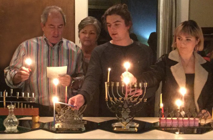 Hanukkah lighting with family