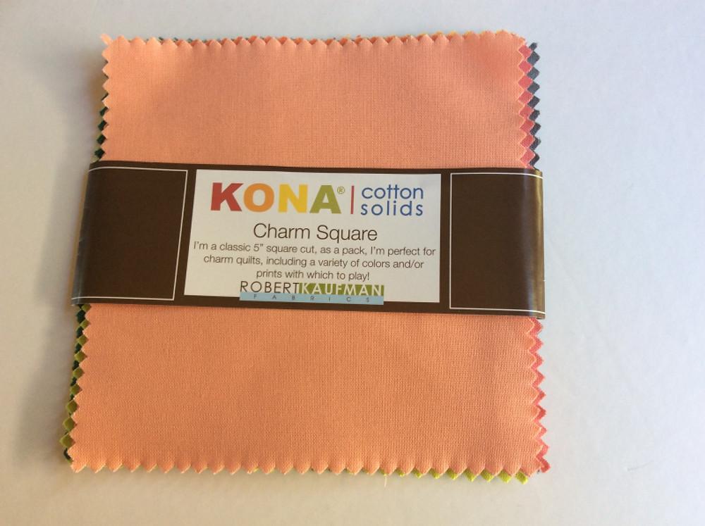 Charm pack of Kona cotton solids by Robert Kaufman.