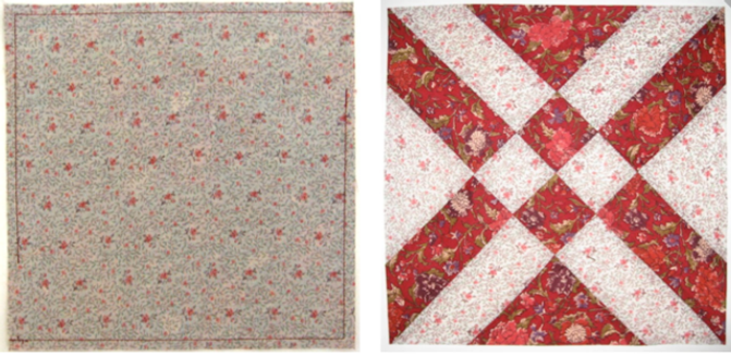 Anita Grossman Solomon's Arrowhead Block before and after:  quilt making magic!