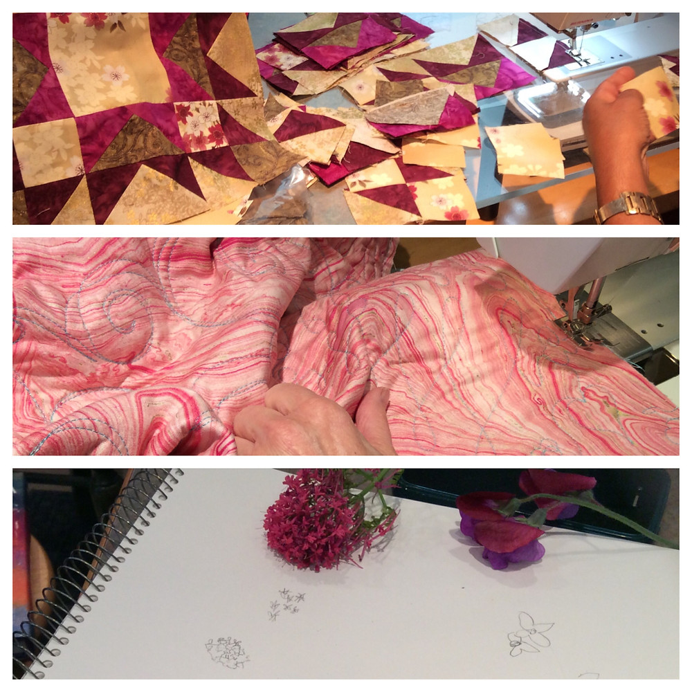 Top: Nikki's Memory Star blocks. Middle: Alethea's machine quilting. Bottom: Dale's flower sketches.