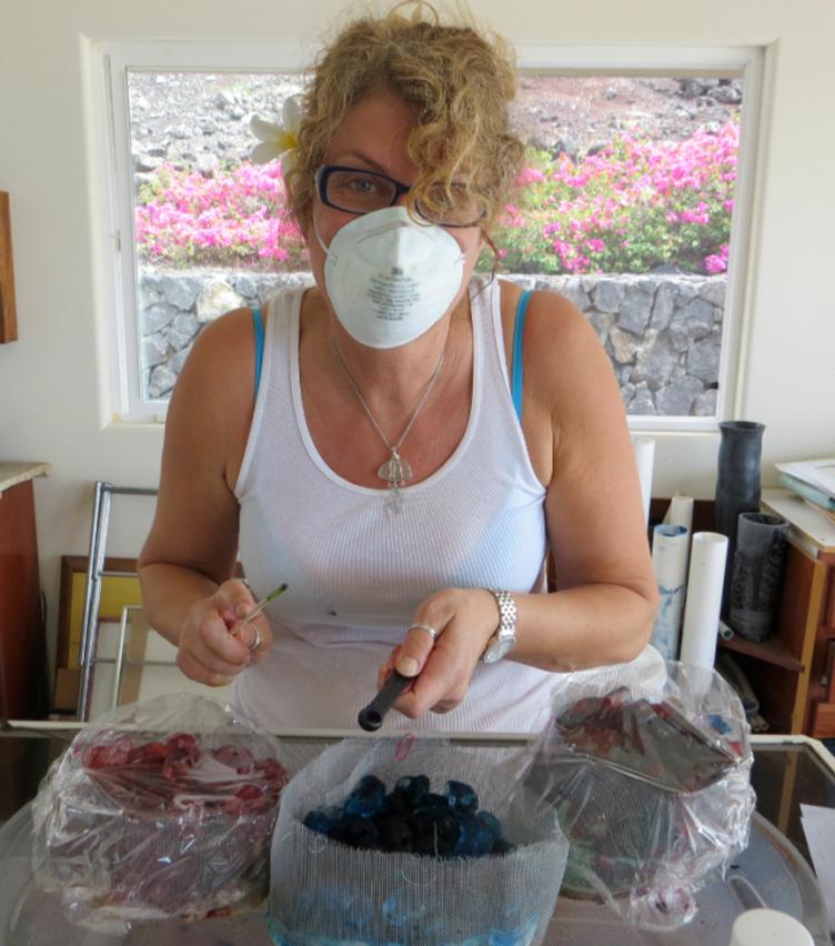 Fabric-CR:  Erica dyeing fabric in Hawaii with Cyndy Rymer