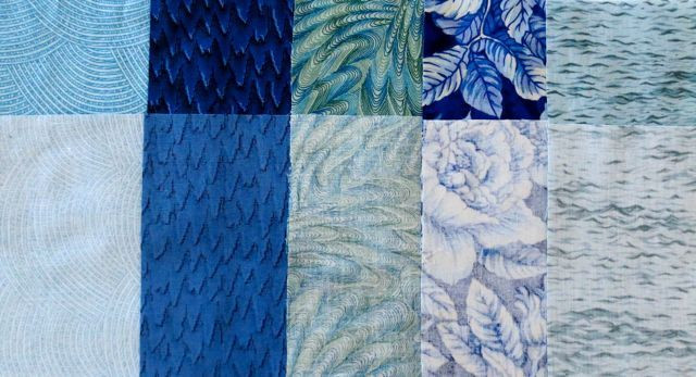 Fabrics in the top row are shown right-side up; fabrics in the bottom row are the same fabrics shown wrong-side up; sometimes the difference is subtle, sometimes dramatic.