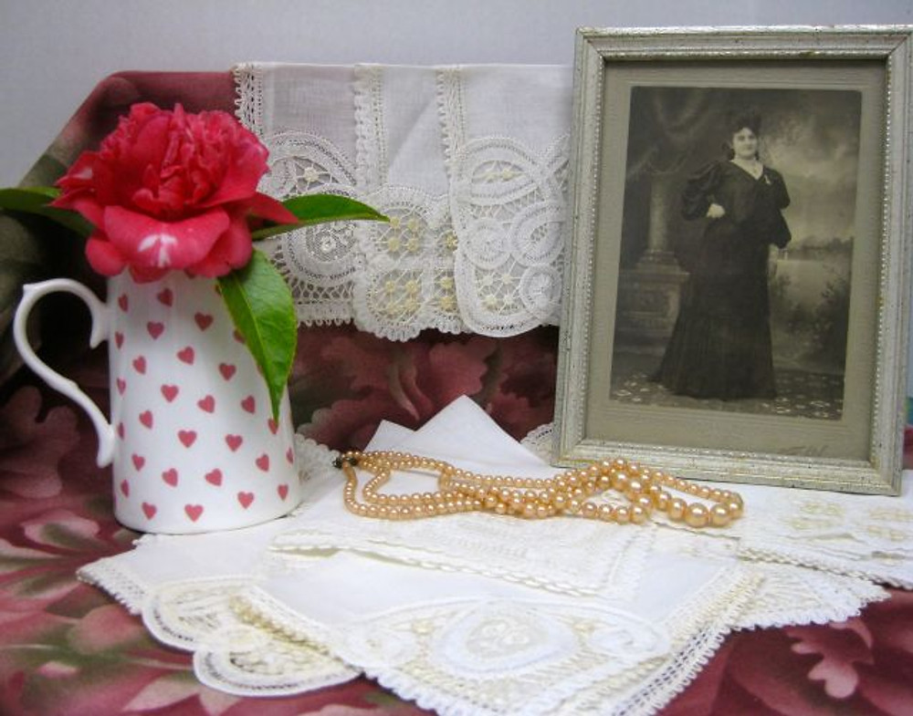 """Just a sampling of my lovely """"inherited""""  textiles; by the way, that fashionable, bustled lady is my great-grandmother's sister, Pauline, who made her living as a dressmaker. Fabric is in my blood, I guess!"""