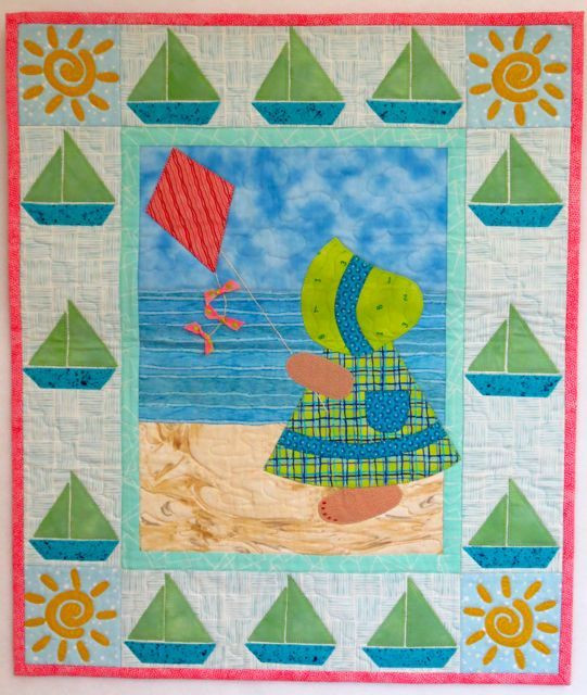 """Sunbonnet Sue at the Beach, 22"""" x 26"""", designed and made by Darra Williamson, machine quilted by Chris Porter, from their book, A Year in the Life of Sunbonnet Sue"""