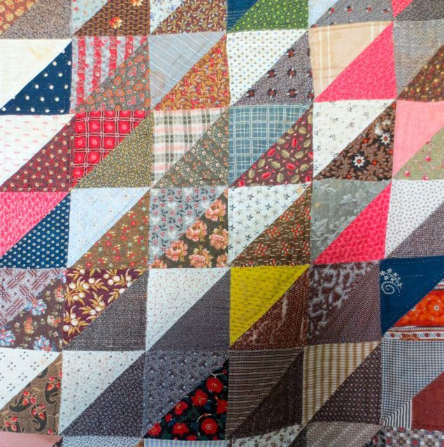 This quilt is a virtual catalogue of print fabrics from the mid- to late-19th century.