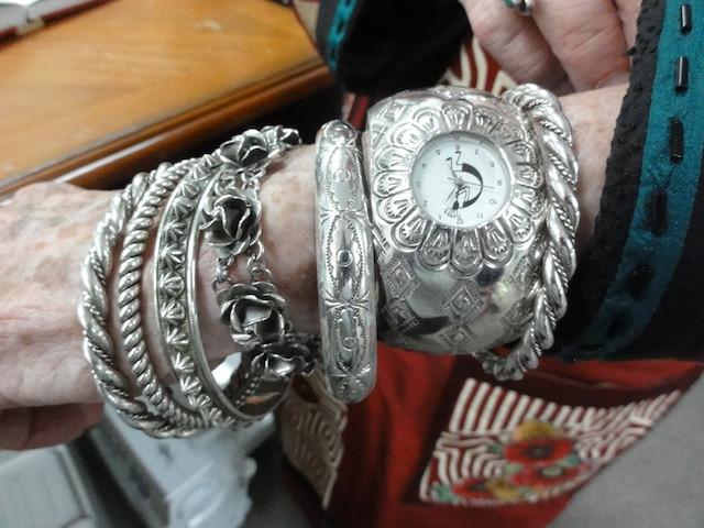 A sampling of Margaret's collection of silver bracelets.