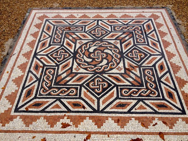 Recreation of a Roman mosaic on the Sudeley grounds
