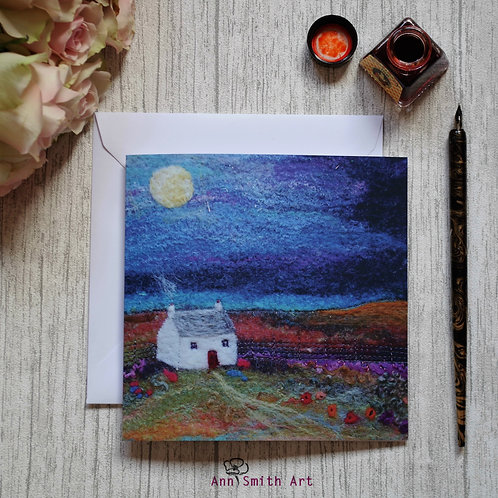 Lavendar Cottage Square Art Greetings Card