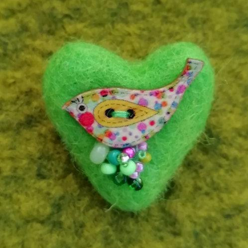 Heart Shaped 'Tweetie' - Wool Felt Brooch Bright Green