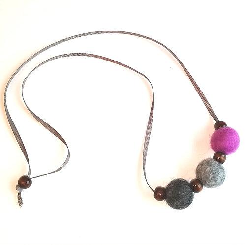 Dark Grey, Light Grey and Mauve Wool Felt/Wooden Bead Necklace