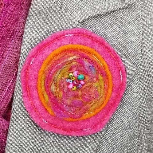 Pink/Orange Wool/Viscose Round Brooch with Hand Beading