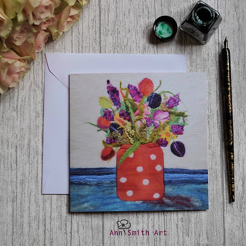 Floral Delights in a Vase Square Art Greetings Card