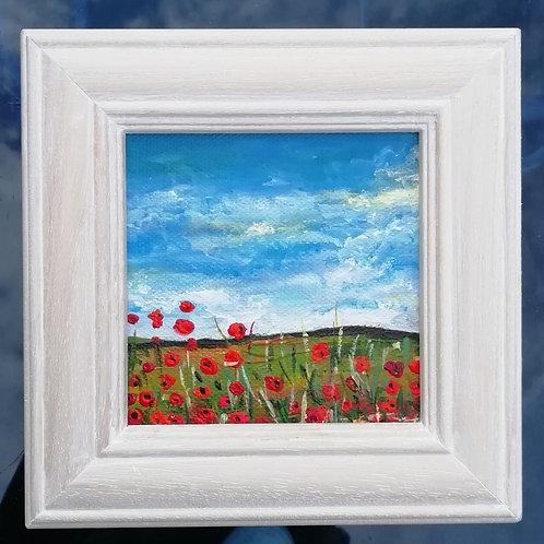 Mini Acrylic Painting - Poppy Field