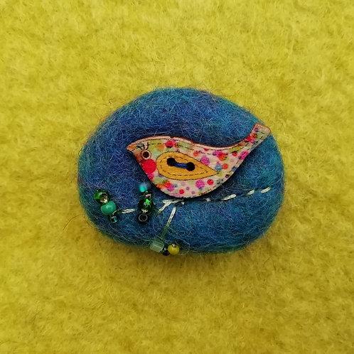 'Tweetie' - Wool Felt Brooch Deep Turquoise