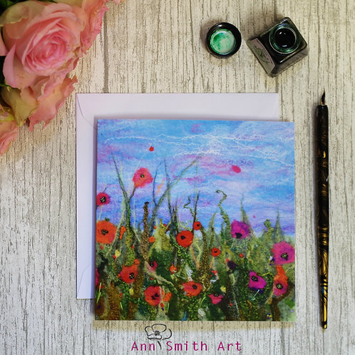 Dancing in the Breeze Square Art Greetings Card