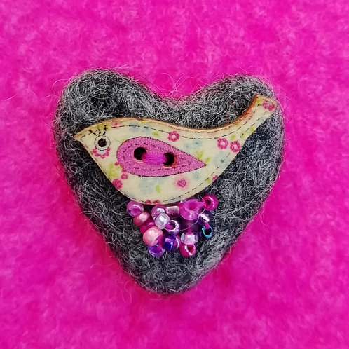 Heart Shaped 'Tweetie' - Wool Felt Brooch Dark Grey