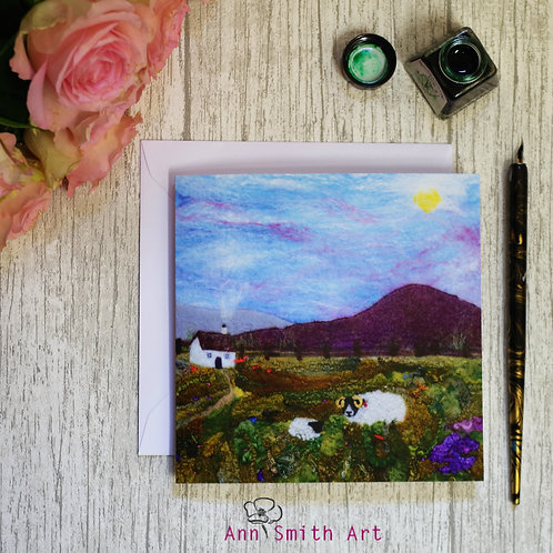Heather Hill & Ewe Square Art Greetings Card