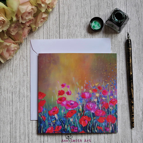Poppies & Cornflowers Square Art Greetings Card
