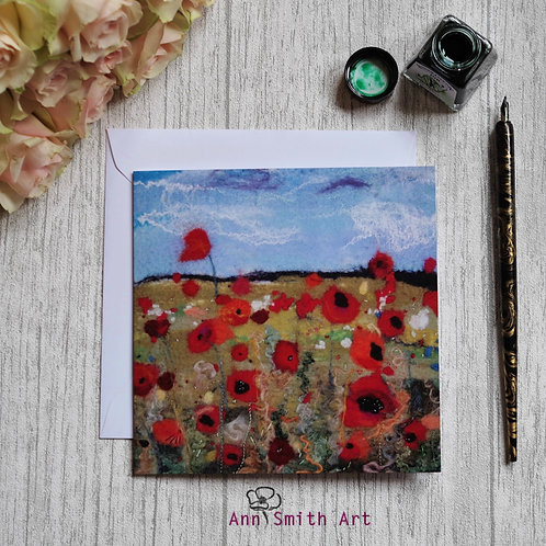 Whispering Poppies  Square Art Greetings Card