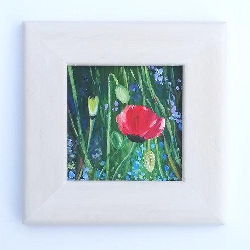 Mini Acrylic Painting -Red Poppy