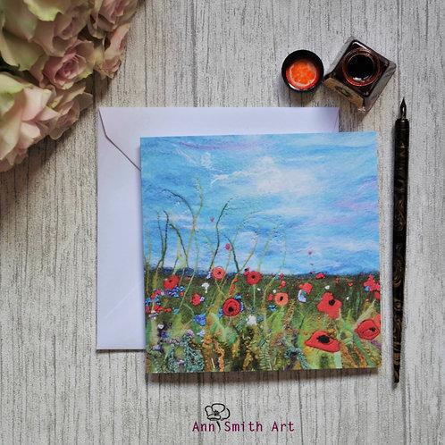 Floral Meadow Under Blue Skies Square Art Greetings Card
