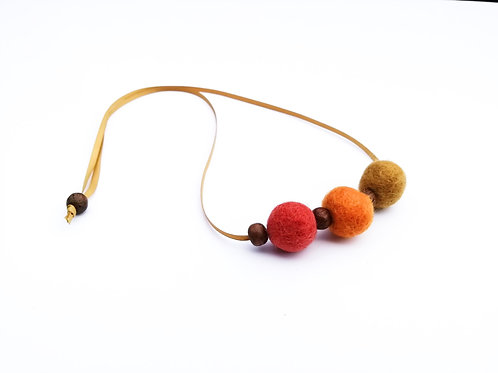 Spice Wool Felt/Wooden Bead Necklace