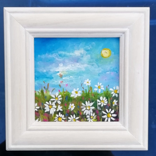 Mini Acrylic Painting -Daisies